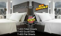 100% Egyptian Cotton T-400 Bedding Duvet Quilt Cover Set Fitted Flat Sheet Shams
