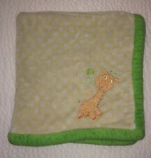 Absorba Green Giraffe Baby Blanket Fleece Plush Security Lovey Yellow