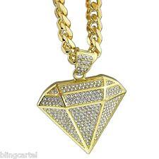 """Diamond Shape Pendant Micro Pave 30"""" Cuban Chain Gold Tone Mens Hip Hop Necklace"""