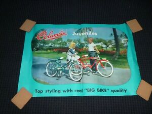 Vtg 60's Columbia Bicycle Store Advertising Poster Juvenile Child's 32 x 21.5""