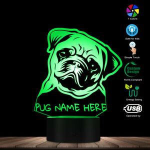 Custom Name Pug Portrait LED Night Light Pug Dog 3D Desk Lamp With Color Changes