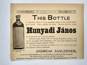 1896 Hunyadi Janos Bottle Quack Medicine Laxative Andreas Saxlehner Print Ad