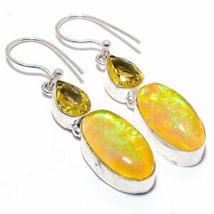 """Triplet Fire Opal, Citrine Gemstone 925 Sterling Silver Jewelry Earring 2.0"""""""