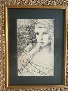 RARE CSABA MARKUS HAND EMBELISHED FRAMED MATTED ETCHING HAND PAINTED GOLD