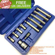 """11pc Spline Bit Set 1/2"""" Socket M5 M6 M8 M10 M12 KIT & CASE LONG & SHORT REACH"""