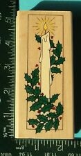 HOLIDAY CANDLE Rubber Stamp by Hero Arts  Christmas Holly Berries