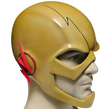 Reverse Flash Mask The Flash Cosplay Yellow PVC Full Head Adult Halloween Helmet