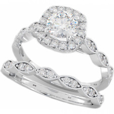New 925 Silver Ladies 2 piece Round Cut Halo Wedding Engagement Ring Set
