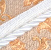 Atlaskordel mit Band  Ø8 mm Weiß  Dekokordel Gedreht Geflochten Schmuckschnur