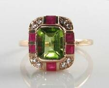 LARGE 9CT 9K ROSE GOLD PERIDOT RUBY DIAMOND ART DECO INS RING FREE RESIZE