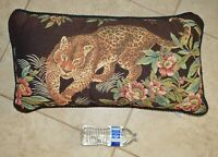 VINTAGE Leopard Jaguar Cheetah Cat Jungle Tapestry Embroidered Throw Pillow