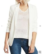 Mint Velvet Ivory Cream White Ruched Back Blazer Boyfriend Jacket 14 RRP £109
