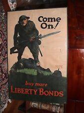 Original WWI Buy Liberty Bonds linen poster; rare, depicting combat