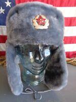 VINTAGE RUSSIAN USHANKA SOVIET PIN GRAY FAUX FUR LARGE 60 EAR FLAPS WINTER RARE