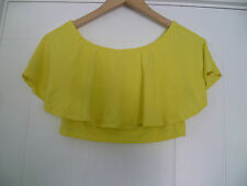 ASOS UK10 LADIES YELLOW BARDOT STYLE CROPPED TOP OFF THE SHOULDERS GOOD CON