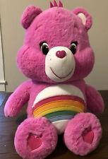 "2014 20"" Care Bear Cheer Bear Rainbow Stuffed Plush Animal Just Play Jumbo Pink"