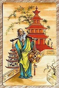 """Vintage Swap / Playing Card """"Japanese Man, Temple, Birds """" near Mint Cond"""