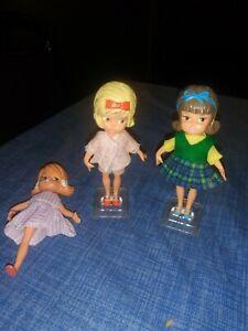"LOT of (3) (1965 Hasbro 4"" Dolly Darlings  Molded Hair Dress  JAPAN"