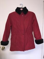 Talbots Women Red Jacket Coat Sz Med Quilted Soft Canvas Faux Fur Collar Zip Mid