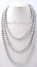 """7-8mm Gray Freshwater Pearl Fashion Style Sweater Necklace 60"""", Not Button"""