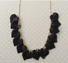 Black Lucite Leaf Necklace With Gold Colour Chain