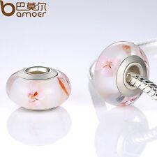Cozy European Pink Glass Bead With Flowers Fitting Charms Bracelet Xmas Jewelry