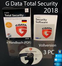 G Data total security 2018 version complète 3 PC Box, CD + guide (PDF) neuf dans sa boîte NEUF