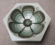 Jersey Pottery Large Dish Ashtray Brown/Green Flower Design 16cm diameter