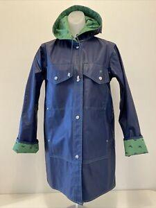 """Lot One"" Raincoat Navy Blue Kelly Green Snap Duck Hooded  Pocket PVC Vintage M"