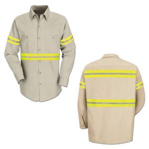Red Kap Enhanced Visibility Hi Vis Reflective Work Towing Uniform Shirts LS