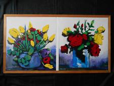 Tableau Acrylique sur toile diptyque : nature morte Bouquets 84,5cm x 55,5cm