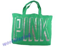 Victoria's Secret GREEN  Neon Canvas Gym Beach Swim Tote Bag NWT
