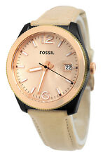 Fossil ES3777 Perfect Boyfriend Rose Gold Date Dial Beige Leather Band Watch New