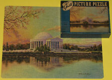 "VINTAGE GUILD PICTURE PUZZLE JIGSAW ""JEFFERSON MEMORIAL"" FUN SHAPE FIGURALS CIB"