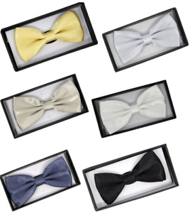 Boxed Bow Tie shiny Sparkly Plain Dicky Dance fancy Dress Gift Set Gents Classy