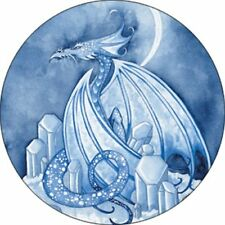 "Amy Brown Button Badge Crystal Dragon Blue White Moon 1.5"" Fantasy Art New Party"