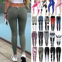 Women High Waist Yoga Pants Push Up Leggings Scrunch Sports Fitness Gym Workout