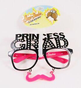 Princess Grad Mustache Glasses Prop No Lens Graduate Bling Pink Sun Staches Fun
