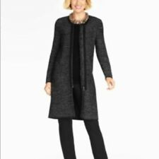 Talbots M p Black Gray marled Long zip Cardigan sweater