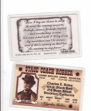 STAGE COACH ROBBER Charles E Boles BLACK BART Stockton CA  Drivers License