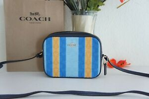NWT COACH C4222 Mini Camera Bag In Signature Jacquard With Stripes $250