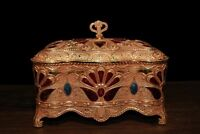 Chinese Antique Tibetan custom copper inlaid gem cloisonne jewelry box