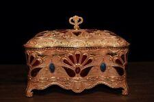 China Antique Tibetan custom copper inlaid gem cloisonne jewelry box