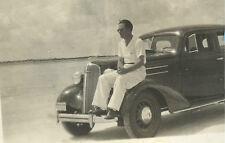 ca1937 Daytona Beach Florida 3 pix, MAN ON CAR IS EPITOME of what Daytona is/was