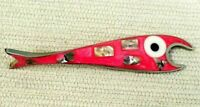 Vintage Pink Fish Bottle Opener with Abalone Mother-of-Pearl on Alpaca Silver