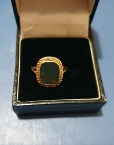 9ct Yellow Gold, Green Agate? Ring, 375 Fully Hallmarked.