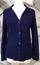 EILEEN FISHER Petite Sz PL Cardigan Sweater Jacket Silk Cotton Blue Pockets EUC