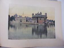 Inde : Gravure 19° in folio couleur / Amristir: Lac de l'Immortalité