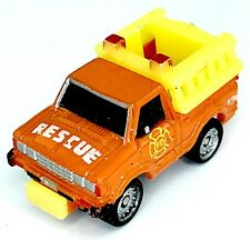Micro Machines Vehicle Rescue Truck Fire Department Datsun Orange Yellow Panel