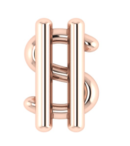 Solid 925 Sterling Silver Tooth Gem Rose Gold Plated Dollar Dental Teeth Jewelry
